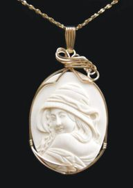 Hooded Woman Mammoth Ivory Pendant Jewelry 14K Gold