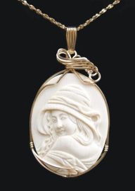 Hooded Victorian Woman Mammoth Ivory Pendant Jewelry 14k Gold