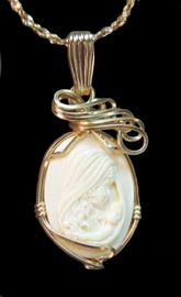 Mother and Child 14k Gold Mammoth Ivory Jewelry