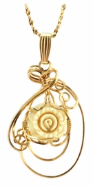 Mammoth Ivory Rose Pendant 14K Gold