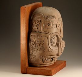 Mayan Altar Archaeology Bas-Relief Reproduction Art Bookend