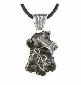 Premium Sikhote-Alin Meteorite Jewelry Pendant Necklace Stainless Steel for Men or Women