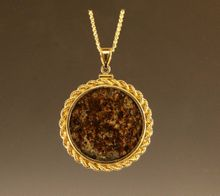 Meteorite Jewelry Pendant Necklace 14K Gold Extra Large Coin Mount