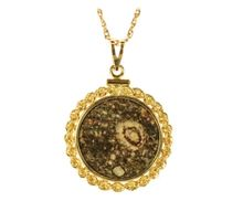 Meteorite Jewelry Pendant Coin Mount 14K Gold Prominent Inclusion