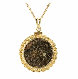 Meteorite Jewelry Pendant Necklace NWA 869 14K Gold with Prominent Decorative Chondrules