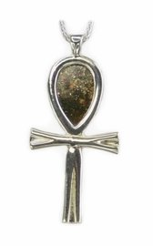 Meteorite Jewelry Pendant Necklace Large Ankh Sterling Silver