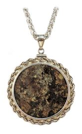 Meteorite Chondrite Jewelry Pendant Necklace Coin Mount Extra Large Sterling Silver