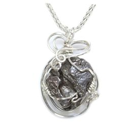 Meteorite Jewelry Pendant Necklace Sterling Silver with Chain