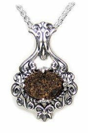 Authentic Meteorite Necklace Pendant Jewelry Victorian Style NWA 3119