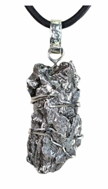 Large Meteorite Jewelry Pendant Necklace Stainless Steel - Sold!