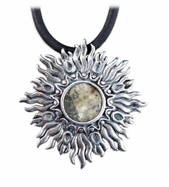 Meteorite Jewelry Pendant Necklace Asteroid Vesta Dhofar 018 Sunburst Sterling Silver