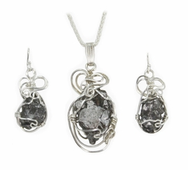 Meteorite Jewelry Pendant Necklace Matching Earrings Set