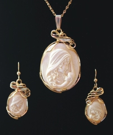 Mother and Child Mammoth Ivory Rose Jewelry 14K Gold