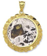 Seymchan Pallasite Meteorite Jewelry Pendant 14K Gold for Sale
