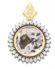 Seymchan Pallasite Meteorite Jewelry Pendant 1.00 ctw 14K Gold for Sale