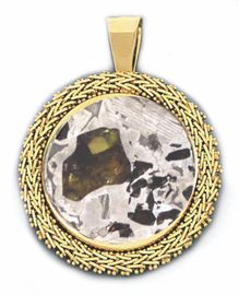 Seymchan Pallasite Meteorite Jewelry Pendant 14K Gold Chevron Style for Sale