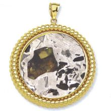 Seymchan Pallasite Meteorite Jewelry Pendant 14K Gold Filigree Style for Sale