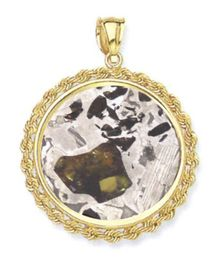 Seymchan Pallasite Meteorite Jewelry Pendant 14k Gold Rope Style for Sale