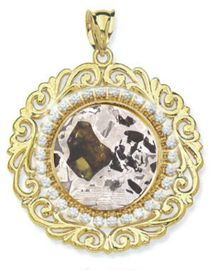 Seymchan Pallasite Meteorite Jewelry Pendant 14K Gold Large Diamond Bezel for Sale
