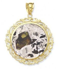 Seymchan Pallasite Meteorite Jewelry Stained Glass Cosmic Pendant 14K Gold