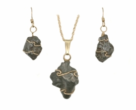 Sikhote-Alin Meteorite Jewelry Pendant Earrings Set 14K Gold