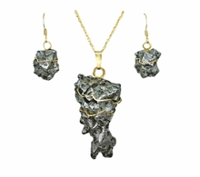 Meteorite Iron Cosmic Space Rock Jewelry 14K Pendant Earrings Set Campo del Cielo