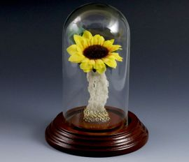 Sunflower Fulgurite Lightning Sand Vase Walnut Domed Art