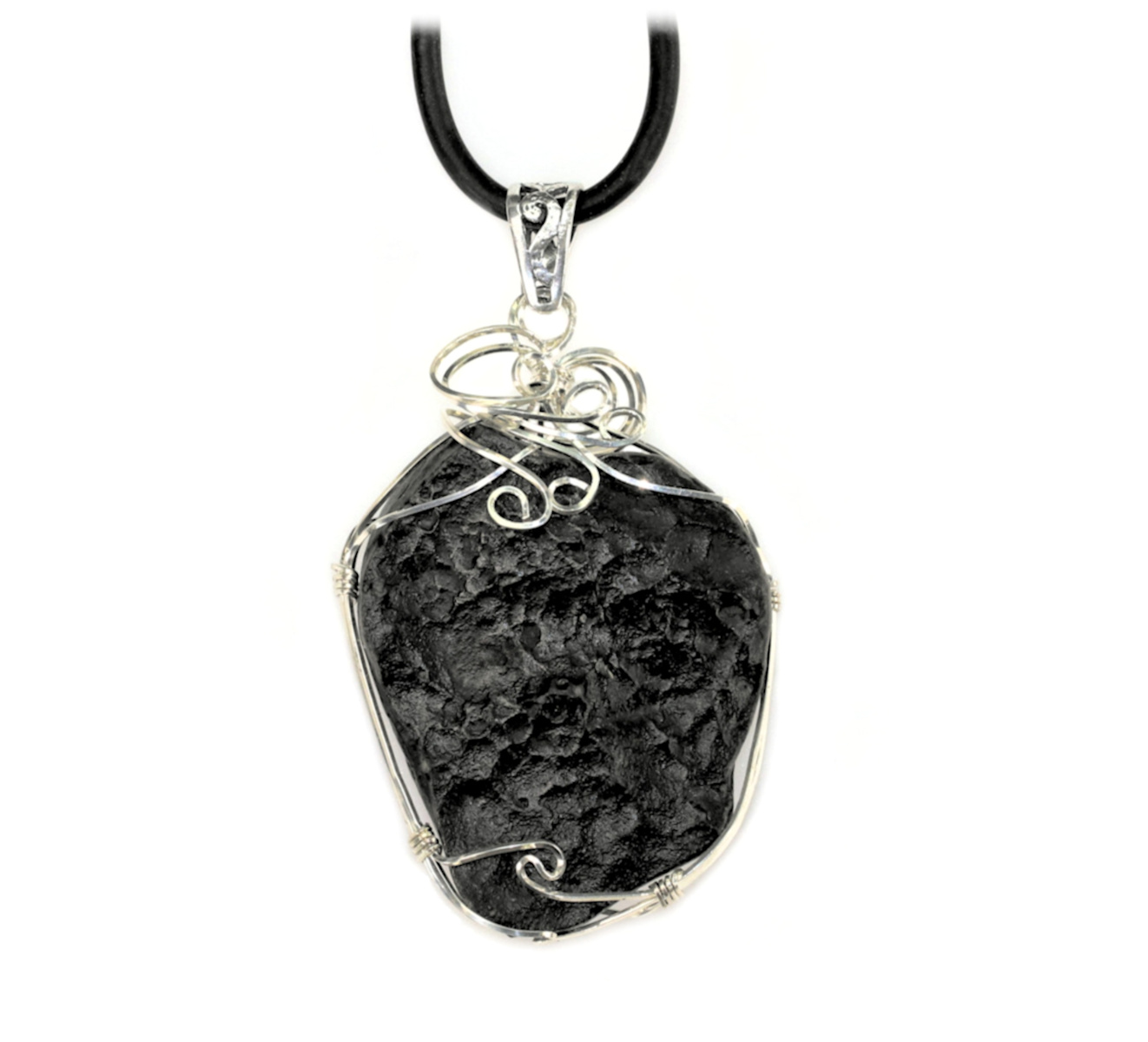 -- stone size necklace 34 x 33 mm  1.34 x 1.30 inch Tektite on leather strap  cotton cord