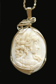 Victorian Woman Mammoth Ivory Pendant 14K Gold