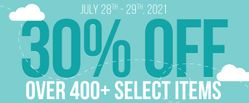 30% off over 400+ Select Items