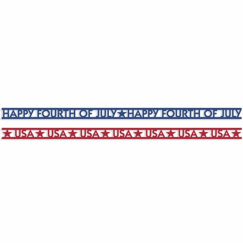 4th of July: Happy Fourth and USA Borders Laser Die Cut