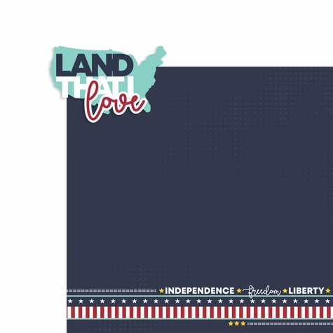 4th of July: Land that I love 2 Piece Laser Die Cut Kit