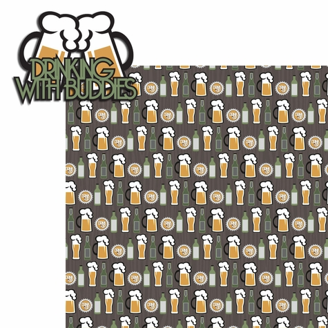 Adults Only: Drinking with Buddies 2 Piece Laser Die Cut Kit