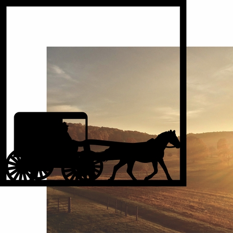 Amish Carriage on Sunset 12 x 12 Overlay Quick Page