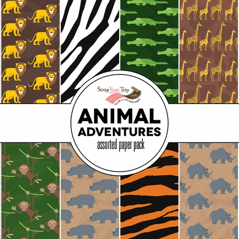 Animal Adventures Assorted 12 x 12 Paper Pack