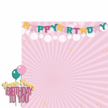 Big Wish: Pink Happy Happy Birthday 2 Piece Laser Die Cut Kit