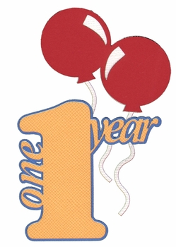 Birthday And Kids:One Year With Balloons Laser Die Cut