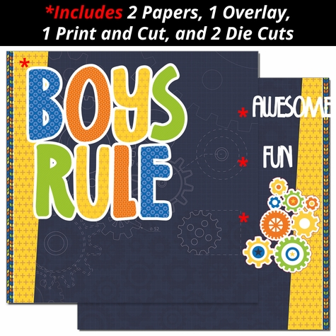 Boys Rule 2 Page Print and Cut