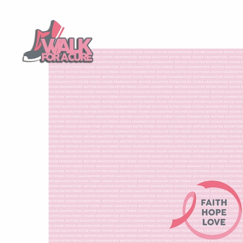 Breast Cancer: Walk for a Cure 2 Piece Laser Die Cut Kit