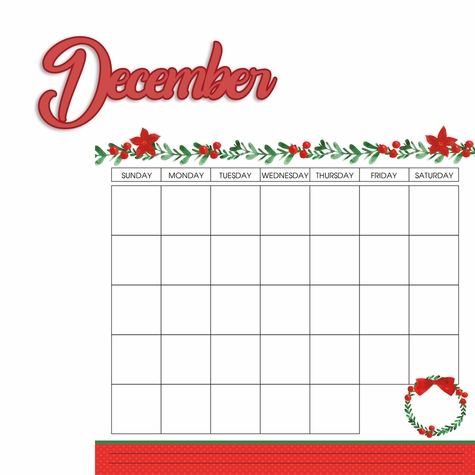 Calendar: December 2 Piece Laser Die Cut Kit