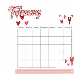 Calendar: February 2 Piece Laser Die Cut Kit