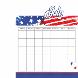 Calendar: July 2 Piece Laser Die Cut Kit