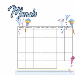 Calendar: March 2 Piece Laser Die Cut Kit