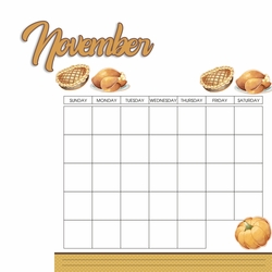 Calendar: November 2 Piece Laser Die Cut Kit