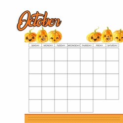 Calendar: October 2 Piece Laser Die Cut Kit