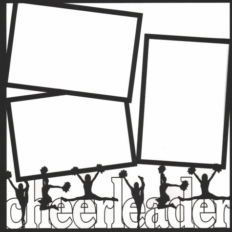 Cheerleading Outline 12 x 12 Overlay Laser Die Cut