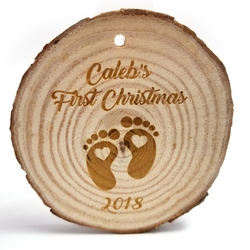 Custom First Christmas Rustic Wood Ornament 3 in x 3 in x 0.25 in
