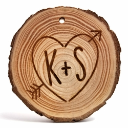 Custom Heart with Letters Rustic Wood Ornament 3 in x 3 in x 0.25 in
