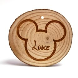 Custom Mickey Head with Name Rustic Wood Ornament 3 in x 3 in x 0.25 in