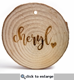 Custom Name with Heart Rustic Wood Ornament 3 in x 3 in x 0.25 in